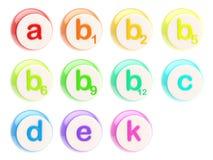 Ensemble d'emblèmes de vitamine ou de pillules lustrées Image libre de droits