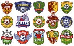 Ensemble d'emblèmes du football Photo stock