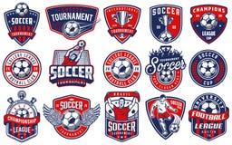 Ensemble d'emblèmes du football illustration stock