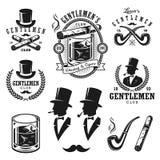 Ensemble d'emblèmes et d'éléments de messieurs de vintage Image libre de droits