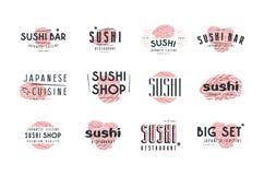 Ensemble d'emblèmes et de logo pour le bar à sushis, la boutique et le restaurant Images libres de droits