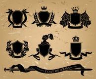Ensemble d'emblèmes noirs héraldiques illustration stock