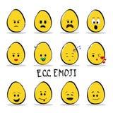 Ensemble d'emoji de 12 oeufs d'isolement sur le fond clair illustration de vecteur