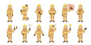 Ensemble d'emoji de pompier illustration libre de droits