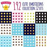 Ensemble d'emoji de vecteur grand Émoticônes drôles de bande dessinée Collants mignons Images stock