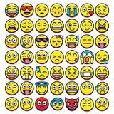 Ensemble d'Emojis différent d'isolement sur le fond blanc illustration de vecteur