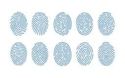 Ensemble d'empreintes digitales de divers types sur le fond blanc Traces des arêtes de frottement des doigts humains Méthode de illustration de vecteur