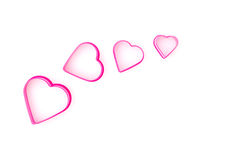 Ensemble d'en forme de coeur rose sur le fond de whiite Images libres de droits
