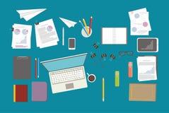 ensemble d'En ligne-éducation papeterie Bisenes de vecteur Photographie stock