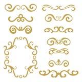 Ensemble d'en-têtes bouclés d'abrégé sur or, ensemble d'élément de conception d'isolement sur le fond blanc Image libre de droits