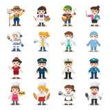 Ensemble d'enfant de différentes professions Illustration Libre de Droits