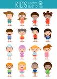 Ensemble d'enfants divers d'isolement sur le fond blanc Différents nationalités et styles de robe Photographie stock