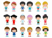 Ensemble d'enfants divers d'isolement sur le fond blanc Différents nationalités et styles de robe illustration libre de droits