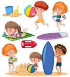 Ensemble d'enfants et d'élément de plage illustration de vecteur