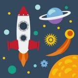 Ensemble d'espace extra-atmosphérique Illustration dans un style plat Photos libres de droits