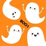 Ensemble d'esprit de fantôme de vol boo Veille de la toussaint heureuse Quatre fantômes blancs effrayants illustration de vecteur