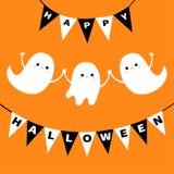 Ensemble d'esprit de fantôme de vol Drapeau Halloween heureux d'étamine boo Famille blanche effrayante de trois fantômes Caractèr illustration libre de droits