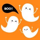 Ensemble d'esprit de fantôme de vol Trois fantômes blancs effrayants Boo Happy Halloween illustration libre de droits