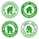 Ensemble d'estampilles amicales de maison d'eco vert Photographie stock libre de droits