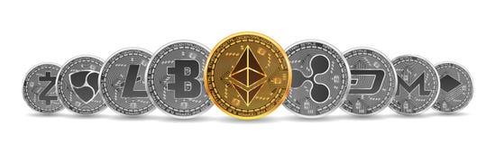 Ensemble d'or et de cryptos devises argentées illustration libre de droits