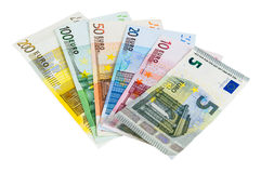 Ensemble d'euro billets de banque Photos libres de droits