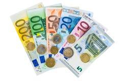 Ensemble d'euro billets de banque et pièces de monnaie Photographie stock libre de droits