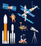 Ensemble d'exploration d'espace de bande dessinée de vecteur Fusées d'espace, astronomiques illustration libre de droits
