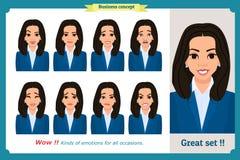 Ensemble d'expression de femme d'isolement Jeunes portraits d'émotion Conception plate Caractère de femme d'affaires illustration libre de droits