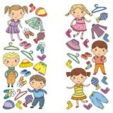 Ensemble d'habillement d'enfants Graphismes de vecteur kindergarten pépinière atelier Habillement d'école Habillement d'été Magas illustration libre de droits