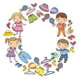 Ensemble d'habillement d'enfants Graphismes de vecteur kindergarten pépinière atelier Habillement d'école Habillement d'été Magas illustration stock