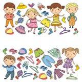 Ensemble d'habillement d'enfants Graphismes de vecteur kindergarten pépinière atelier Habillement d'école Habillement d'été Magas illustration de vecteur