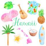 Ensemble d'Hawaï d'aquarelle illustration stock
