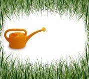Ensemble d'herbe de jardin, main, arrosoir Image libre de droits