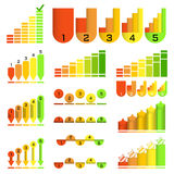 Ensemble d'histogrammes dans le style peu commun différent : flèche, indicateur, colonne, boule Éléments d'infographics de calibr illustration de vecteur