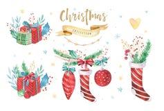 Ensemble 2019 d'hiver de décoration de Joyeux Noël et de bonne année Fond de vacances d'aquarelle Carte d'élément de Noël Photo stock