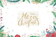 Ensemble 2019 d'hiver de décoration de Joyeux Noël et de bonne année Fond de vacances d'aquarelle Carte d'élément de Noël Images libres de droits