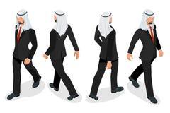 Ensemble d'homme d'affaires Arab Man sur le fond blanc Poses isométriques de caractère Personnes de bande dessinée Créez votre pr Images libres de droits
