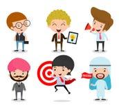Ensemble d'homme d'affaires Character Cartoon Design d'isolement sur le fond blanc Ensemble de gens d'affaires divers de plein co Images stock