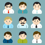 Ensemble d'homme d'affaires d'émoticônes de caractères illustration de vecteur