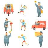 Ensemble d'homme de courrier et de procédé de travail de Corrier Photos libres de droits