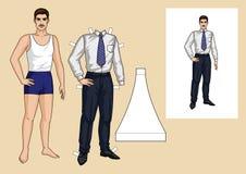 Ensemble d'homme de papier avec des vêtements pour lui Image libre de droits