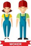 Ensemble d'homme de travailleur de vecteur et de femme de travailleur Photo stock