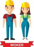 Ensemble d'homme de travailleur de vecteur et de femme de travailleur Image stock