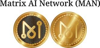 Ensemble d'HOMME d'or physique de réseau de Matrix AI de pièce de monnaie illustration de vecteur
