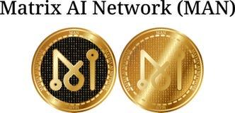 Ensemble d'HOMME d'or physique de réseau de Matrix AI de pièce de monnaie illustration stock