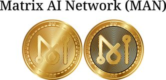Ensemble d'HOMME d'or physique de réseau de Matrix AI de pièce de monnaie illustration libre de droits