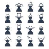 Ensemble d'humain avec des icônes de coiffe de differents Photo stock