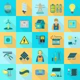Ensemble d'icône d'équipement d'énergie, style plat illustration de vecteur