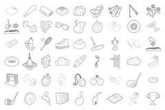 Ensemble d'icône d'équipement de sport, style d'ensemble Photographie stock libre de droits