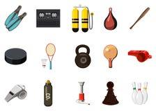 Ensemble d'icône d'équipement de sport, style de bande dessinée Images stock